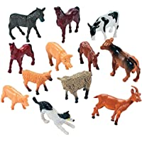 Fun Express 12 Farm Animal Miniature Toy Figures