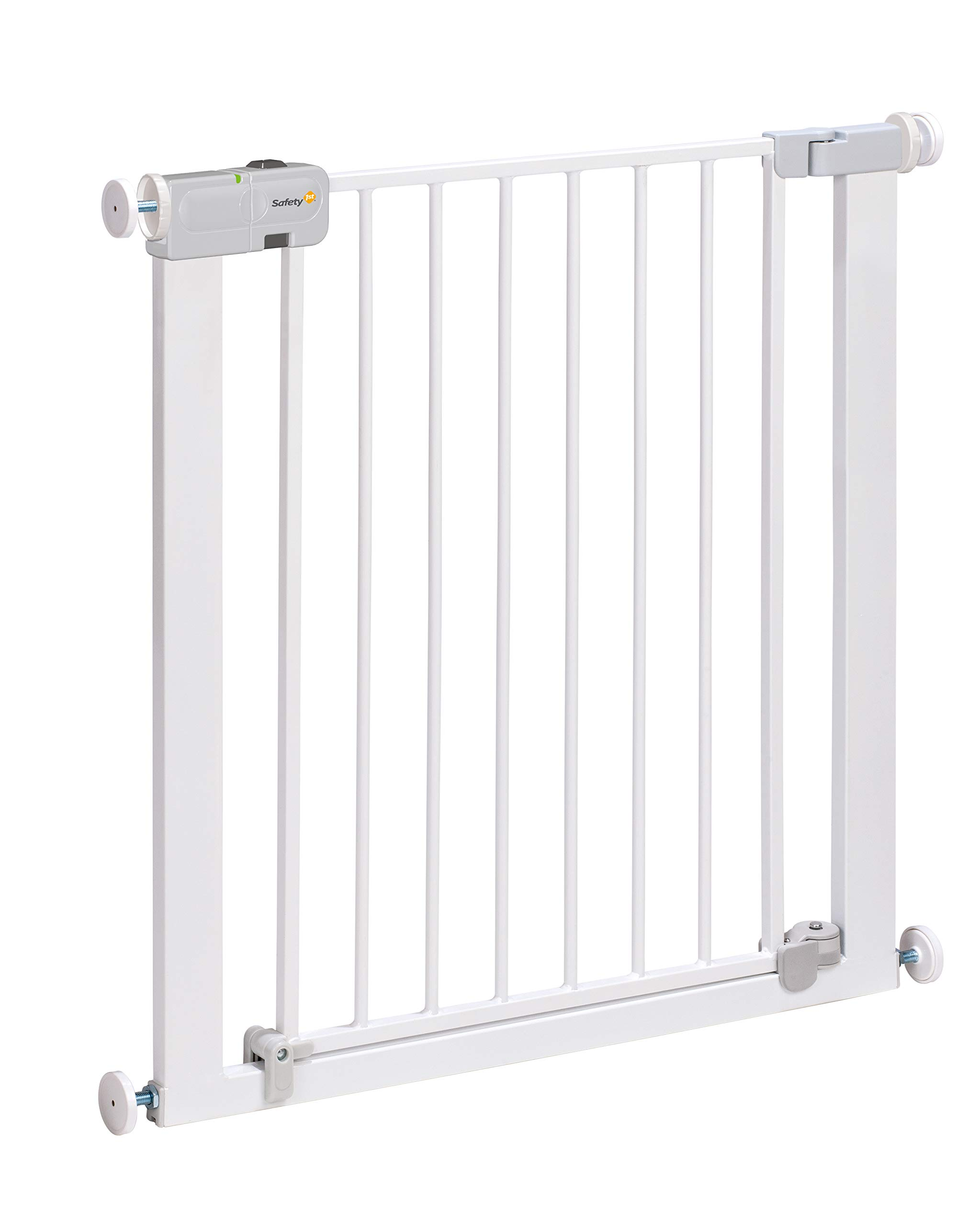 """Safety 1st Secure Tech Auto Close Metal Gate, White Safety 1st One handed opening """"true"""" auto-closing whatever the opening amplitude U-shaped frame with 4 pressure points provides solid fit and doesn't require drilling Secure tech indicator shows the gate is safely locked into place 1"""