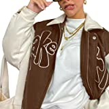 SUPJAN Women Y2k Vintage Brown Jacket Baseball Bomber Female Men Zip Up JacketHarajuku Plus Size Streetwear Outerwear Goth Ja