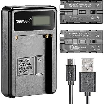 Neewer® Micro USB Akku-Ladegerät + 2er-Pack 2600 mAh NP-F550/570/530 Ersatzakkus für Sony HandyCams, Neewer Nanguang CN-160, CN-216, CN-126 LED-Licht, Polaroid On-Kamera Videolichter