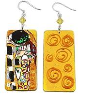 Orecchini dipinti a mano – IL BACIO DI KLIMT - Orecchini pendenti da donna, Gioielli in legno dipinti a mano, Gancio in…