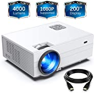 FunLites Projector, HD 4000 Lux Video Projector with 200