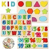 BelleStyle Puzzle en Bois, Colorées Alphabet Lettres Numéro Formes Puzzle Bois Planche Puzzle à Encastrement Apprentissage Ed