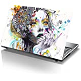 PIXELARTZ Laptop Skin - Abstract Painting Girl - Thoughtful Rendering - HD Quality - 15.6 Inches - Multi-Colour