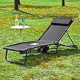 SoBuy® Tumbona Tomar el sol, Transat Jardín Cuna, silla de camping, relajarse reclinable, OGS27-SCH, ES