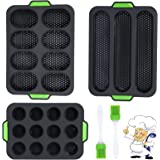 Uponer Lot de 3 Silicone Baguette,Moule muffin Moule Baguette silicone Mini Plateau de Cuisson Mini Plateau de Cuisson pour M