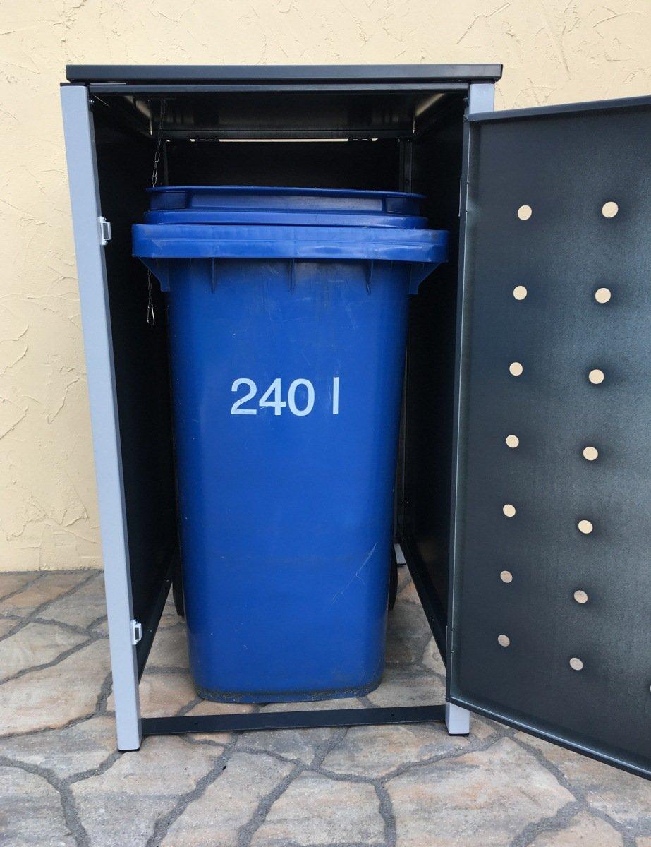 4 Mülltonnenboxen ohne Stanzung für 240 Liter Mülltonnen / komplett Anthrazit RAL 7016 / witterungsbeständig durch Pulverbeschichtung / mit Klappdeckel und Fronttür