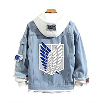 Hawgeylea Attack on Titan Jeans Jacket Scout Regiment Cosplay Denim Jacket Autumn Eren Jager Hooded Sweatshirt Outwear Coat