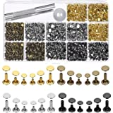 Selizo 480 Sets 4 Colors 3 Sizes Leather Rivets Double Cap Rivet Tubular Metal Studs with 3 Pieces Setting Tool Kit for Leath
