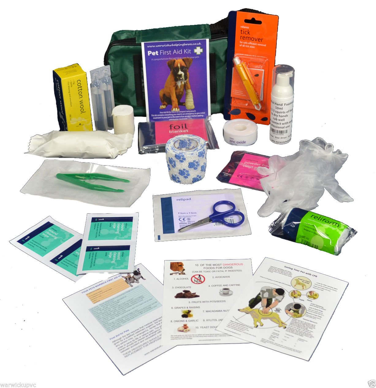 Warwick Whelping Boxes Pet First Aid Kit Comprehensive with paw print bandage and 50ml Hand sanitiser foamer CPR guide and Toxic foods leaflets included 1