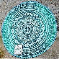 rawyalcrafts indio Mandala redondo Roundie Beach Manta Tapiz Hippy Boho Gypsy algodón mantel toalla de playa redondo Esterilla de yoga