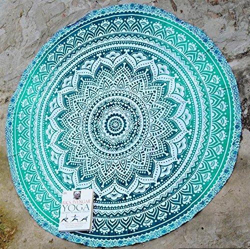 RawyalCrafts Alfombra redonda para yoga, diseño de mandala indio