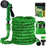 Liwiner 1 Garden 100FT 3 Times Expanding Flexible Magic Lightweight Hose Pipes Reel with 7 Prayer Gun for Washing Car/Waterin