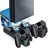 Support de ventilateur de refroidissement avec fonction de mémoire pour PS4 / PS4 Pro / PS4 Slim, station de charge Likorlove