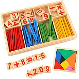 INTVN Math Counting Toy Baby Toy Wooden Blocks Montessori Educational Toys Mathematical Intelligence Stick Building Blocks gift-Wooden Number Cards and Counting Rods with Box