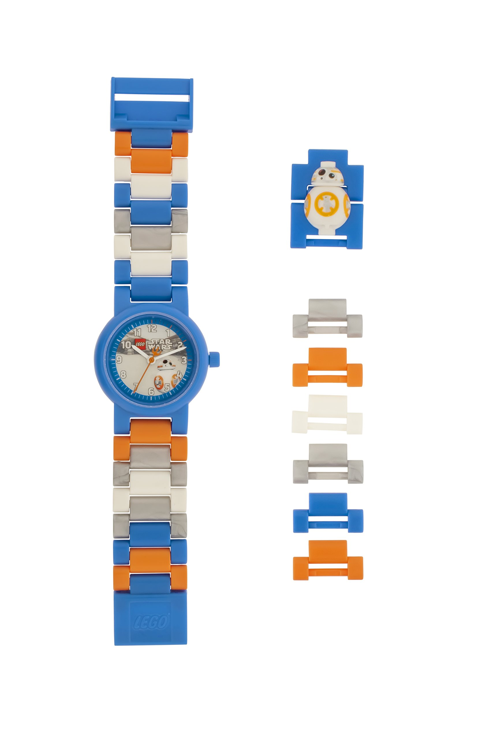 LEGO Star Wars 8020929 BB-8 Kinder-Armbanduhr mit Minifigur und Gliederarmband zum Zusammenbauen , blau/orange, Kunststoff ,Gehäusedurchmesser 25mm, analoge Quarzuhr , Junge/ Mädchen , offiziell