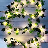 Lierre Artificiel, [1 PCS] 2M Feuille Guirlande Lumineuse, Plantes Artificielles avec 20 LED et Vert Feuille, Chaîne Lumières