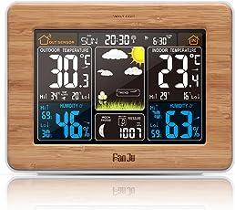 FanJu FJ3365 Wetterstation mit Weckfunktion und Temperatur/Feuchte/Barometer/Wecker/Uhr/Mondphase/Wetterstation Funk mit Außensensor