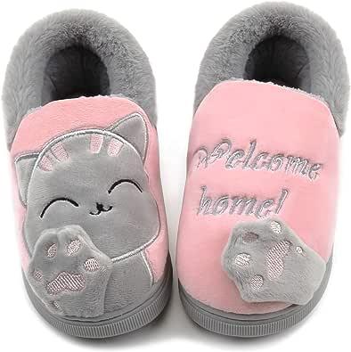 Vunavueya Hiver Chausson pour Enfants et Adultes Garçon Fille Pantoufle Hiver Chaussures de Maison Femmes Hommes Chaude Fourure Doublée Mules Slippers 21-44