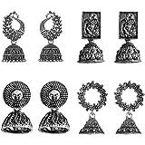 JewelMaze Set Of 4 Earrings Combo (silver)(1004008) Silver Plated Jhumki Earrings for Women