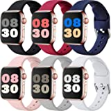 MAZTRON 6-Pack Silicone Band Compatible with Apple Watch Band 38mm 40mm 42mm 44mm, Soft Replacement Sport Strap with Classic