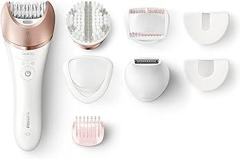 Philips Epiliergerät Satinelle Prestige BRE644/00/Nass- und Trocken Epilierer inkl. 7 Zubehörteile für eine mühelose Anwendung an Beinen, Körper, Gesicht & Bikinizone für langanhaltend glatte Haut