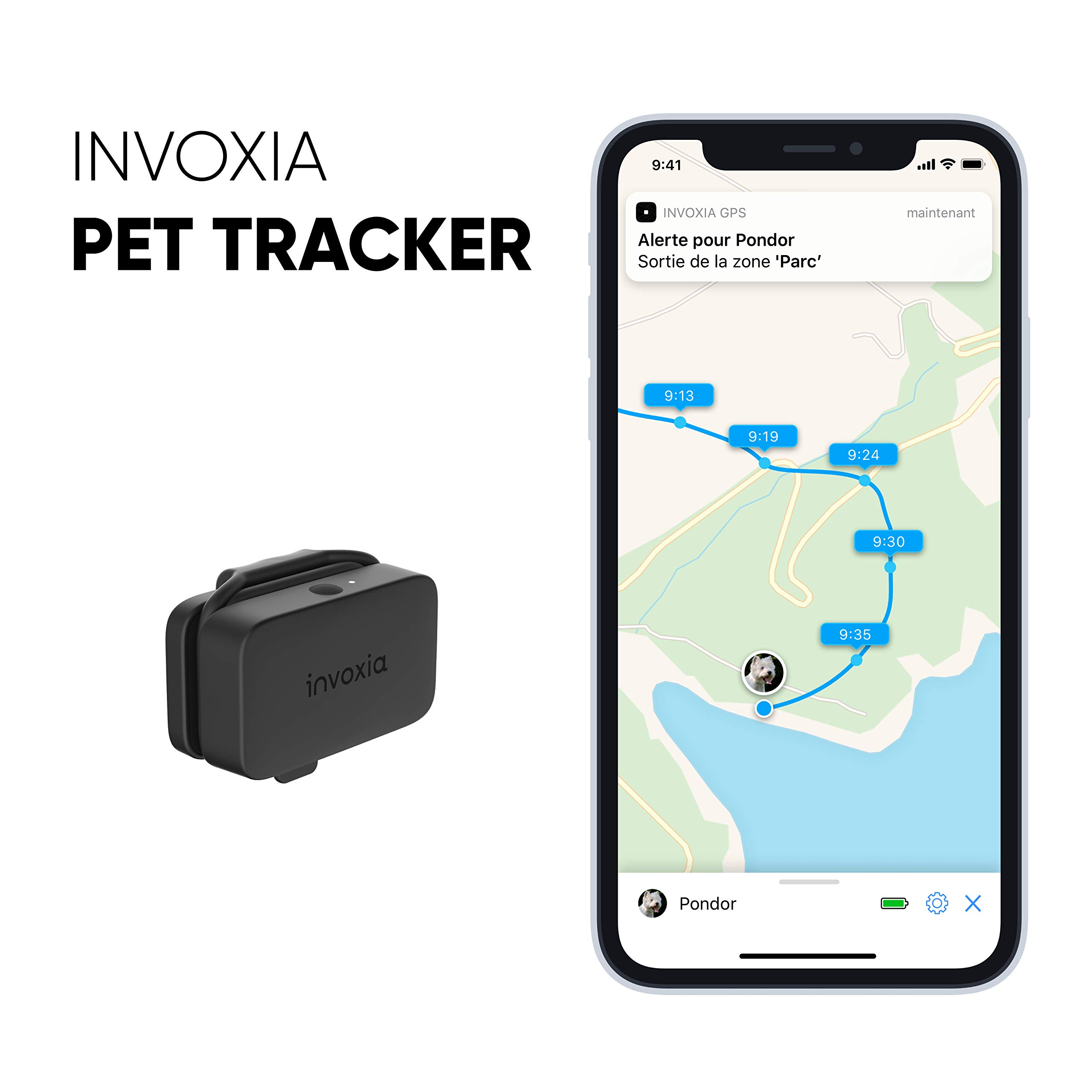 Invoxia Pet Tracker – GPS & activity monitoring tracker for cats and dogs – Subscription included – Light and compact – up to 1 month battery life