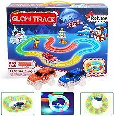 Spielzeug Glow Twister Tracks Autorennbahn Twister Truck Magic Glow Tracks Toys E-Auto Konstruktionsspielzeug Starter Set für Kinder ab 3 Jahren mit Neon Rennbahn kreative Rennstrecken 2 leuchtende Autos