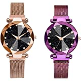 Mr. Brand Analogue Women's Watch (Black Dial Multi Colored Strap) (Pack of 2)