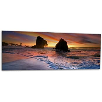 KD Dsign XXL Glasbild AG312500452 MURAL SANDSTRAND MEER 125 x 50 cm//WANDBILD Deco Glass//Handmade
