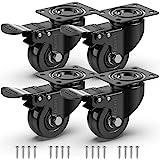 GBL® 4 x Zwenkwielen 50mm met Schroeven - Zwenkwielen Zwaar Rubberen Zwenkwielen voor Meubels - Wielen Karretje - Transport K