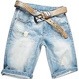 AITESEN Men's Loose Fit Denim Shorts Jeans Light Blue (Belt not Included) W28-W44