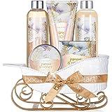 Coffret Cadeau Naturel pour Femme -Body&Earth 6 Pcs Coffret de Bain & Douche au Parfum de Jasmin et de Miel -Parfait Cadeau B