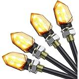 Justech 4PCs Micro LED Turn Signal Lights Motorbike Indicator Universal Waterproof 3528 Lamp Beads Indicator Compatible…
