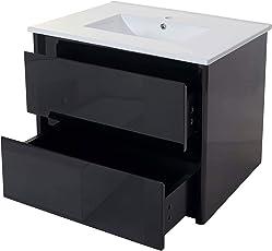 Mendler Waschbecken + Unterschrank HWC-B19, Waschbecken Waschtisch Badezimmer, Hochglanz 50x80cm