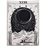 Black Moon Tarot Tapestry, The Moon The Star The Sun Tapestry Wall Hanging Medieval Europe Divination White and Black…
