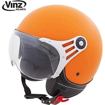 Vinz Jethelm Rollerhelm In Gr S, Matt Orange ECE zertifiziert XS-XL Jet Roller Motorrad Helm