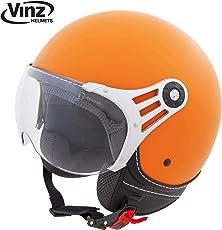 Vinz Jethelm Rollerhelm   In Gr. XS-XL   Jet Roller Motorrad Helm   ECE zertifiziert (M, Matt Orange)