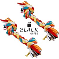 Black Apple Cotton Durable Dog Chew Rope Toy for Small to Medium Dogs (Color May Vary) Combo Set of 2