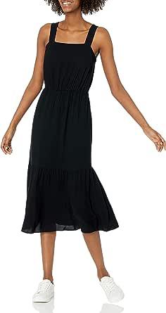 Amazon Essentials Women's Relaxed Fit Fluid Twill Tiered Midi Dress