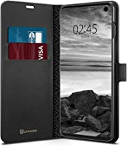 Spigen La Manon Wallet Saffiano Cüzdan Serisi Kılıf Galaxy S10 ile Uyumlu / Kapaklı Ekstra Koruma - Black