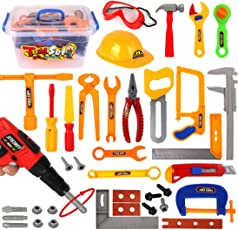 Giplar 37 Stück Werkzeugkasten Kinder Spielwerkzeug Kinder Transparent Werkzeugkoffer Set Rollenspiel Spielzeug Kinder für ab 3 Jahre