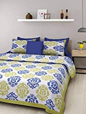 Jaipuri Style 100% Cotton Rajasthani Tradition King Size Double Bedsheet with 2 Pillow Cover - Green