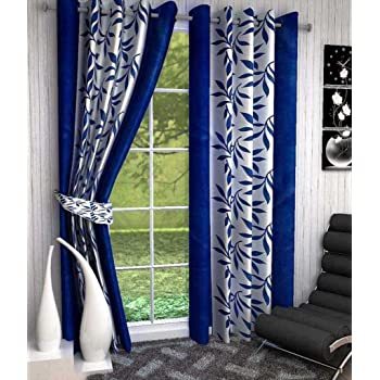 Super India Floral Polyester Window Curtain - 5ft, Blue