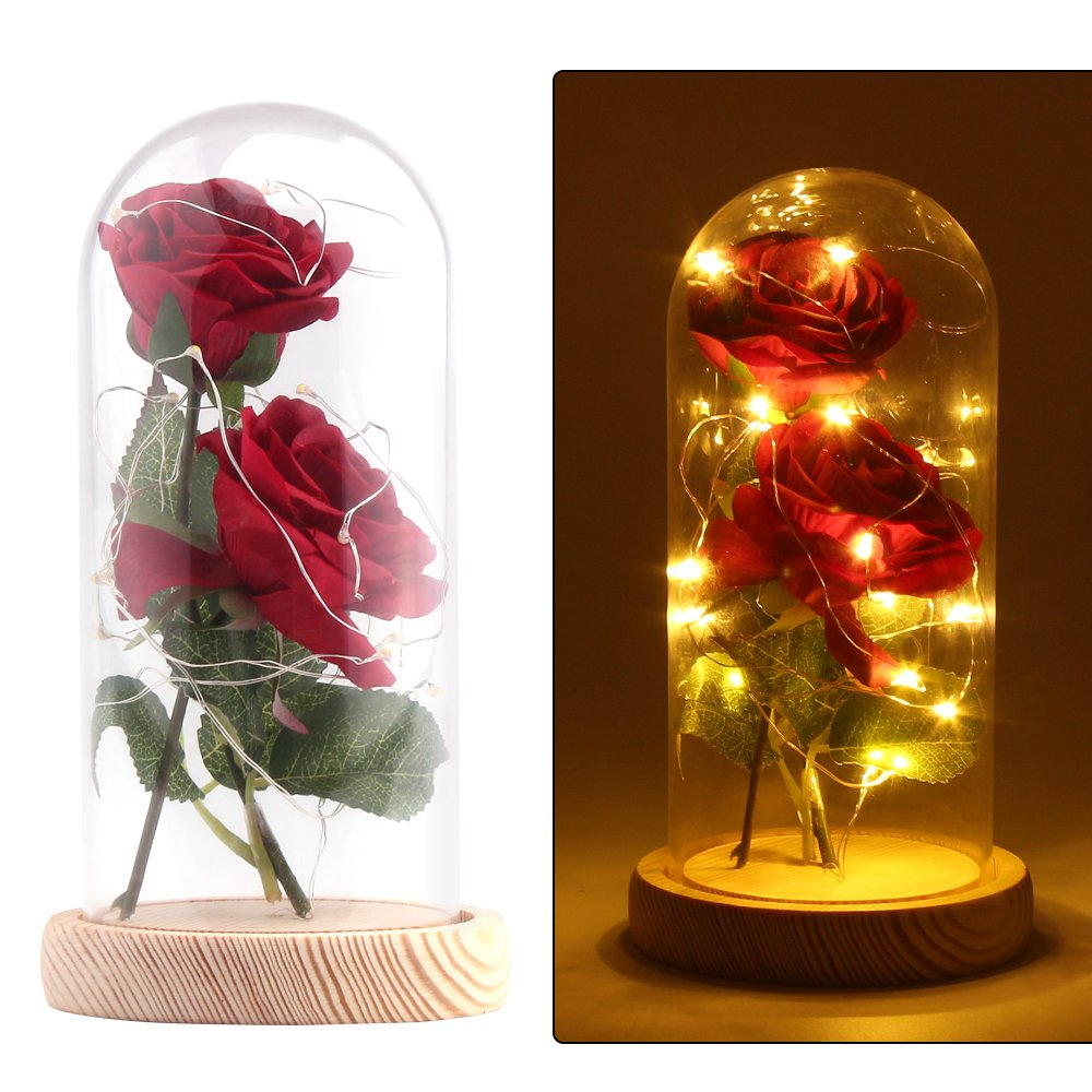 Vingtank 2 PCS seda artificial rosa con 20-LED luz de tira en una pantalla de vidrio blanco cálido Gran regalo para la…