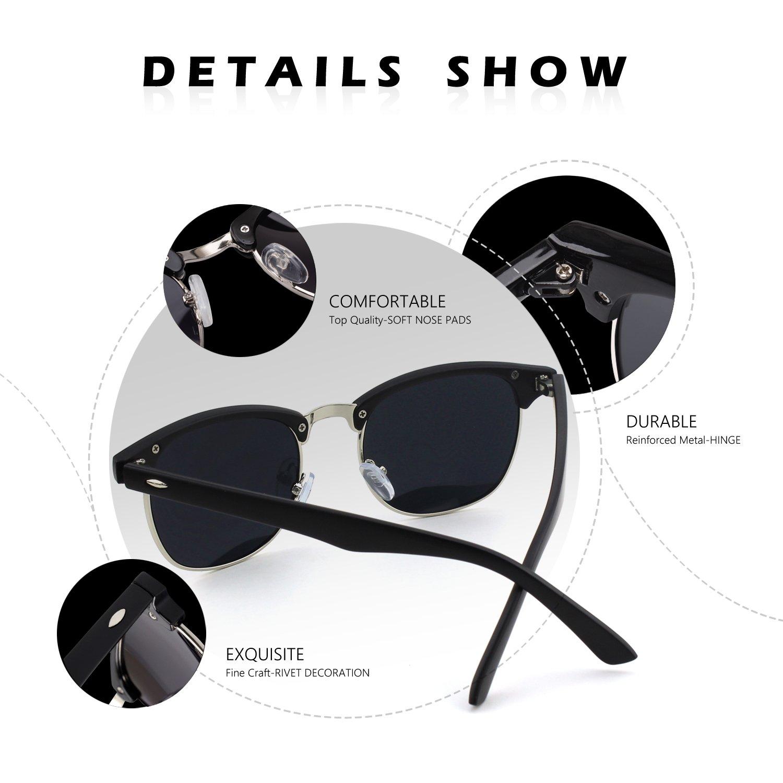 CGID MJ56 Clubmaster clubma Retro Vintage Sonnenbrille im angesagte 60er Browline-Style mit markantem Halbrahmen Sonnenbrille,Schwarzes-Silber