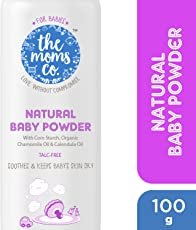 The Moms Co. Talc-Free Natural Baby Powder with Corn Starch, Chamomile Oil, Calendula Oil and USDA-Certified Organic Jojoba Oil - 100g
