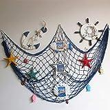 Ruick Filet de pêche décoratif, style plage et bord de mer, décoration murale avec coquillages, décoration de porte de style