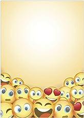 25 Blatt Briefpapier Motiv Smiley, Emoji, gelb/beidseitig bedruckt/DIN A4 90 g Papier/witzig / lustiges Papier/für Angebote/Kinder, Jungs und Mädchen/für Kinder, auch zum Basteln
