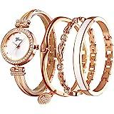 Clastyle Set Orologio Bracciale da Donna Elegante Orologio da Polso con 3 Braccialetti Oro Rosa Orologi con Bracciale Donna